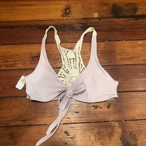 L*Space Lavender Crochet Wrap Top, Size Medium